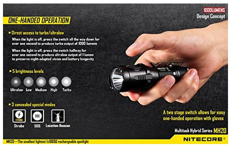 2. Nitecore MH20 CREE XM-L2 U2 LED 1000 Lumen USB Rechargeable Flashlight