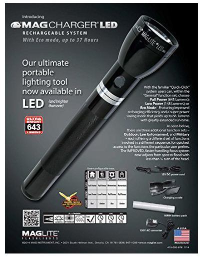 6. MAGLITE RX1019 Heavy-Duty Rechargeable Flashlight System