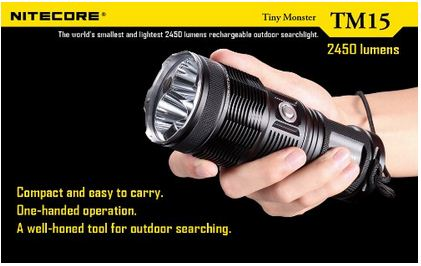 NiteCore TM15 2450 Lumens Tiny Monster Triple XM-L Flashlight Combo - with Free Diffuser