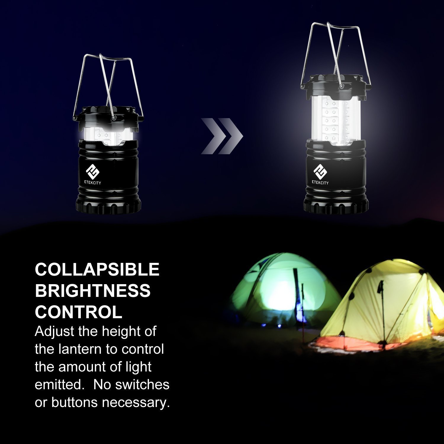 Etekcity 2 Pack Portable Outdoor LED Camping Lantern with 6 AA Batteries